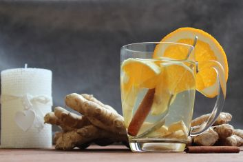 Christmas hot ginger with oranges